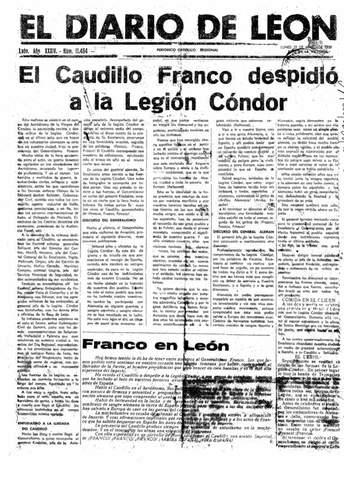 Franco despide en la base aérea deLa Virgen del Camino (León) a la Legión Cóndor (tropas nazis)