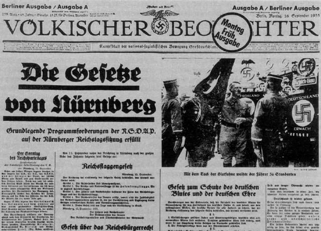 Nuremberg Laws in effect against Jews.