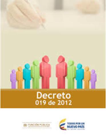 Decreto 019 de 2012.