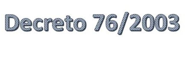 España.  Decreto 76/2003,