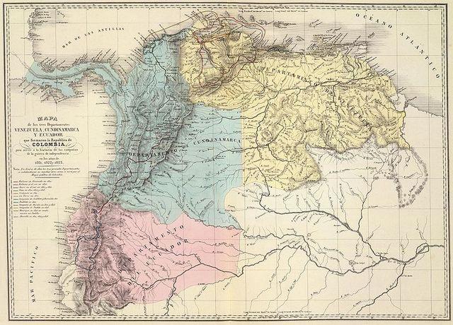 Creada la República de Colombia por el Congreso de Angostura, con tres departamentos: Venezuela, Quito y Cundinamarca