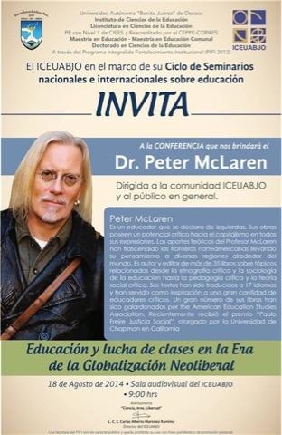 """Peter McLaren visita el ICEUABJO e imparte un seminario denominado: """"Educación y lucha de clases en la era de la globalización neoliberal""""."""