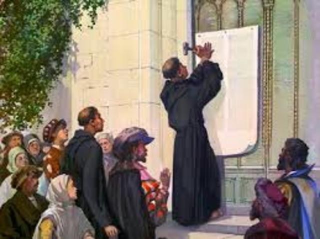 Publicacion de las 95 tesis criticas de Lutero