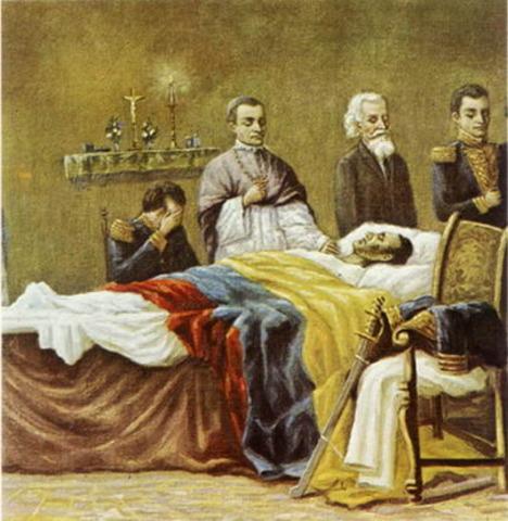 Muerte de Bolívar en Santa Marta.