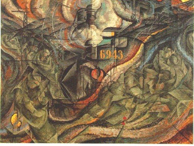 pintura de Umberto boccioni  Estados de la Mente: Las Despedidas (1911)