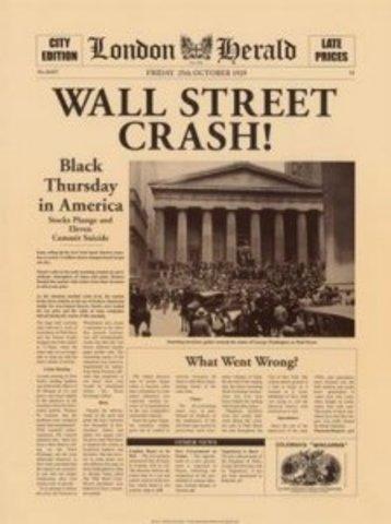 Caída de la bolsa de 1929 (La Gran Depresión) EE.UU