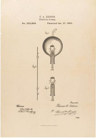 Edison exhibe su primera bombilla eléctrica