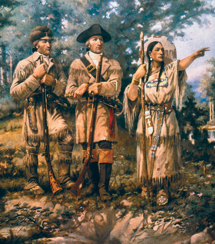 Sacagawea with Lewis and Clark at Three Forks