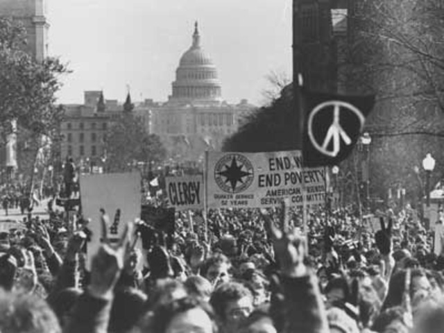 Anti-Vietnam War protest. 400,000 march from Central Park to UN. Speeches by Martin Luther King, Stokely Carmichael and Dr. Benjamin Spock