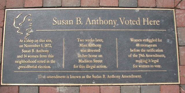 Susan B. Anthony Arrested and Charged With Illegally Voting in Her Hometown of Rochester, New York