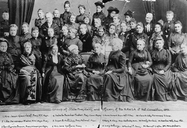 The National American Woman Suffrage Association (NAWSA) Created by the Merger of the National Woman's Suffrage Association (NWSA) and the American Woman Suffrage Association (AWSA)