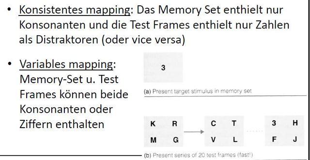 Übung bei konsistentem (variablem) Mapping, Shiffrin + Schneider