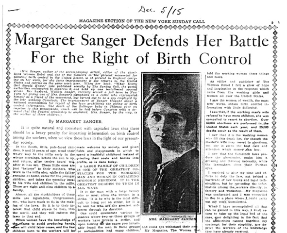 Margaret Sanger Opens First Birth Control Clinic in the U.S. in Brooklyn, New York