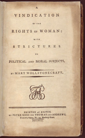 A Vindication of the Rights of Woman, by British feminist Mary Wollstonecraft