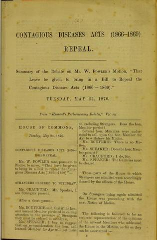 The Ladies National Association for the Repeal of the Contagious Diseases Acts established by Elizabeth Wolstenholme and Josephine Butler