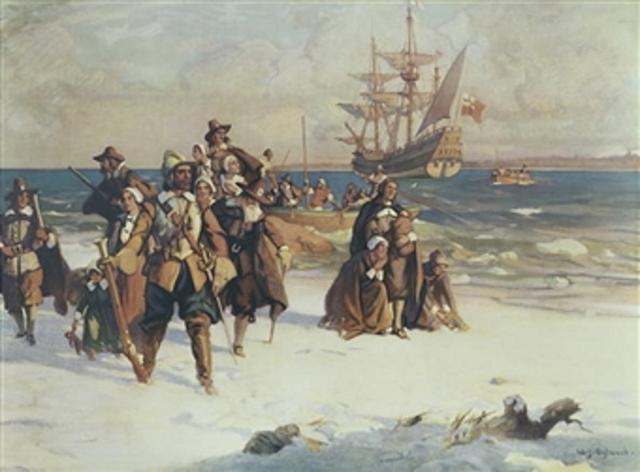 Pilgrams land in New England