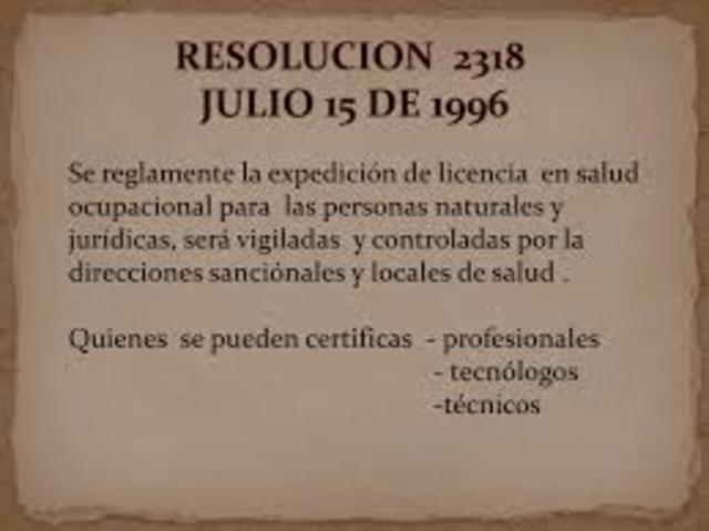 RESOLUCIÓN NUMERO 2318 DE 1996,