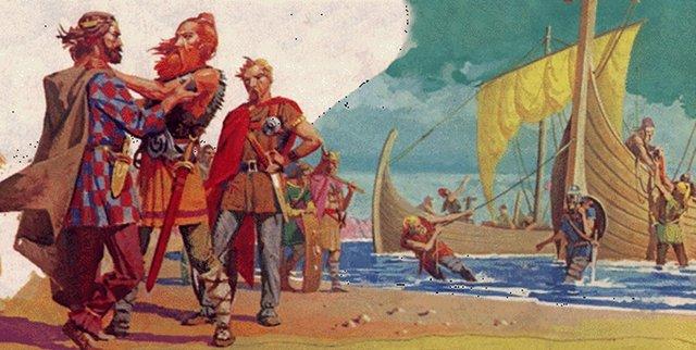 Saxons Hengist and Horsa settle in Kent.