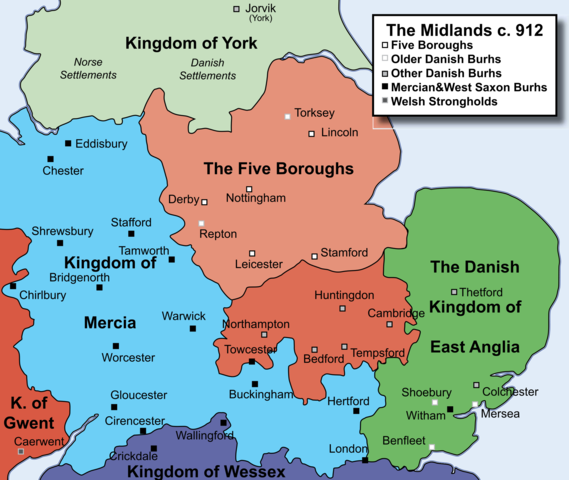 The North subjected to the Danelaw, the rules of the Vikings