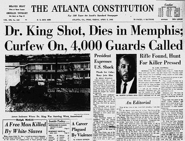 The death of Martin Luther King Jr.