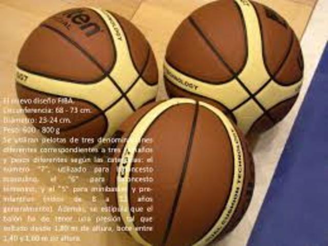 la FIBA ha adoptado para sus competiciones una pelota con bandas claras amarillas sobre el clásico color de fondo naranja