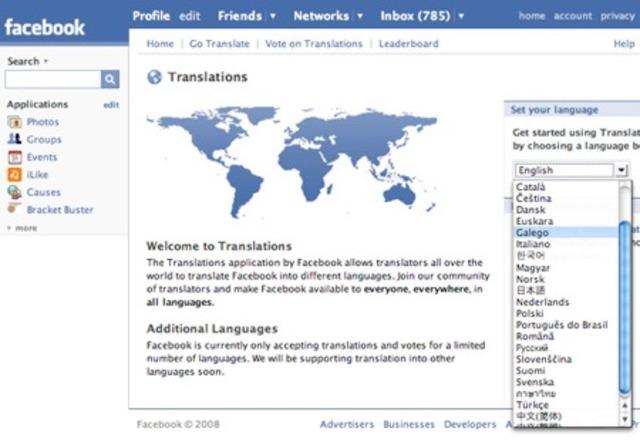 Versión de facebook en otros idiomas