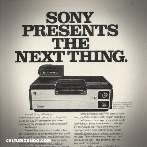 La aparición de la primera grabadora de vídeo, Betamax de Sony, y el estreno de las primeras películas en este medio.