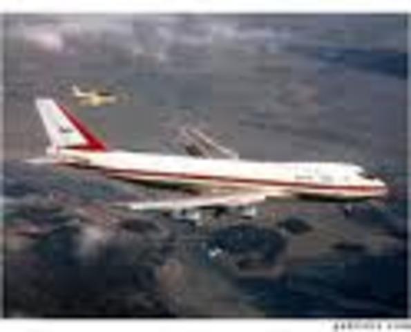 747 makes maiden flight.