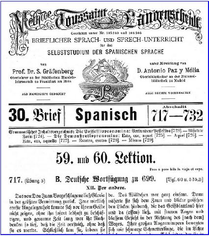 Primeira escola por correspondência destinada ao ensino de línguas em Berlim