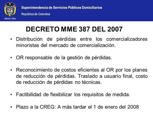 Decreto 387, 2007