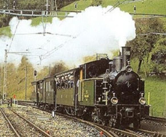 Se aplica la maquina de vapor en ferrocarriles.
