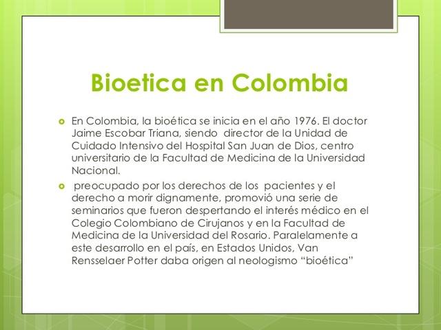 BIOETICA EN COLOMBIA 1975 - 1992