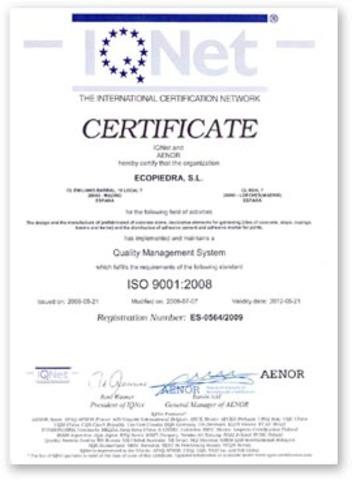 Certificado de calidad - Inglaterra