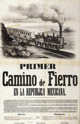 Se crea la primera linea férrea en México y solo cubría 136 km.