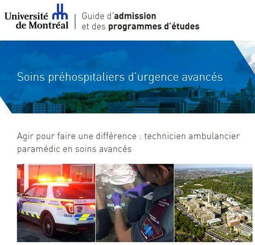 Début Majeur en soinspréhospitaliers d'urgences avanés, Université de Montréal