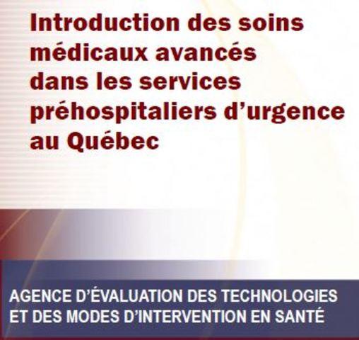 Début de l'AETMIS sur le rôle des soins avancés au Québec