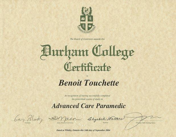 Graduation du collège Durham en tant que soins avancés selon le profil national canadien