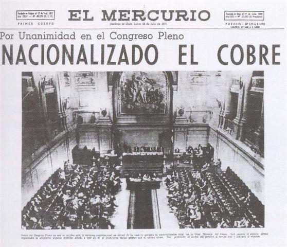 El Presidente Salvador Allende nacionaliza el Cobre quitándolo de las manos de las compañías norteamericanas