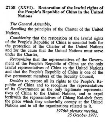 La República Popular China ingresa en la ONU