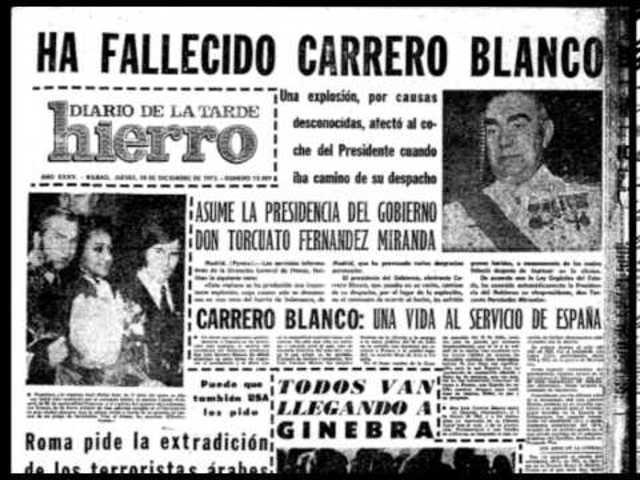 Luis Carrero Blanco, presidente del Gobierno de España. Es asesinado por la organización terrorista ETA en Madrid