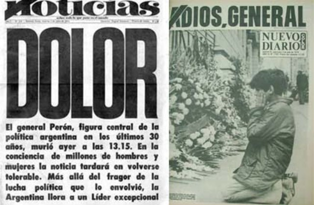 Fallece el presidente de Argentina Juan Domingo Perón