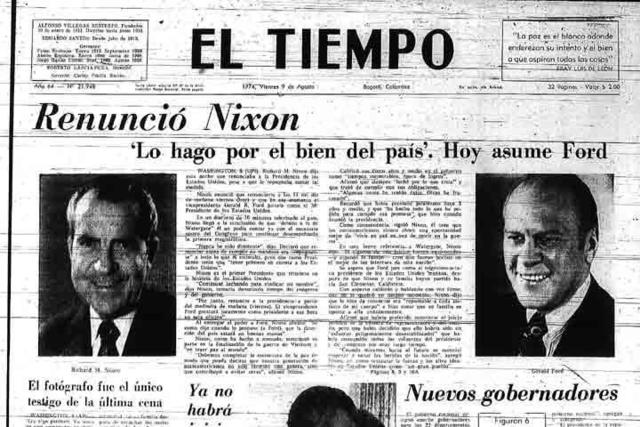 Richard Nixon se convierte en el primer presidente de los Estados Unidos en presentar su dimisión , debido al escándalo Watergate. Su sucesor en el cargo fue Gerald Ford