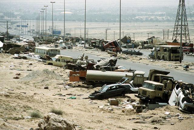 Iraqi retreat on the highway of death