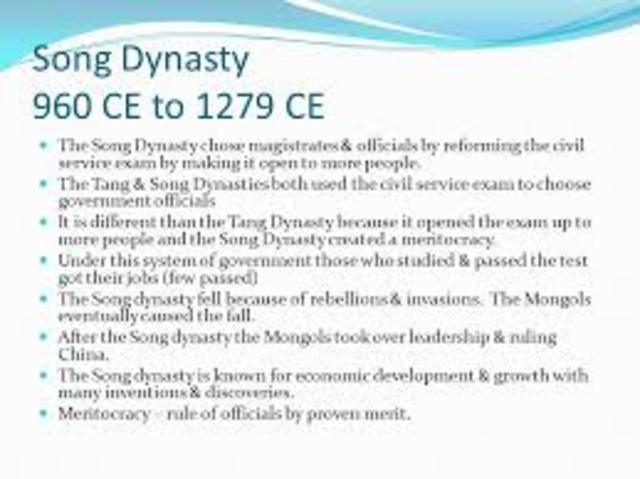 960 C.E Song Dynasty began in China