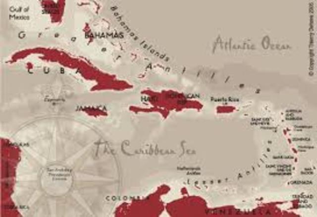 1492 A.D Columbus reaches the Caribbean