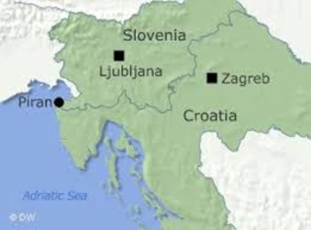 Slovenia and Croatia split from Yugoslavia