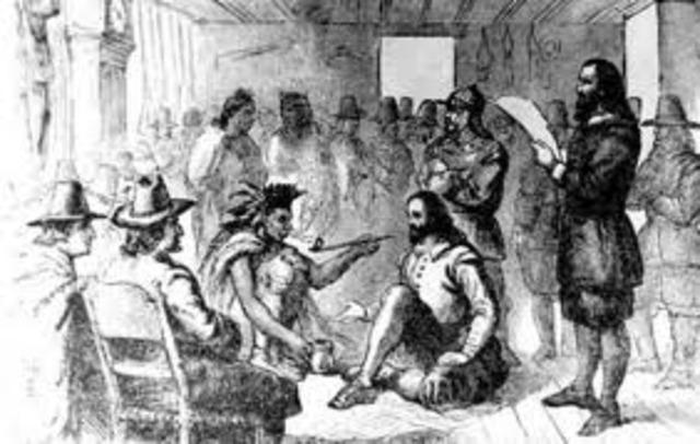 Wampanoag make friend with the Pilgrims