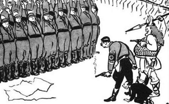 """Del 30 de Junio al 2 de Julio de 1934 se desarrolla la """"Noche de los Cuchillos Largos"""". Terror criminal contra miembros de la SA. Hitler declaró estas muertes legales y necesarias para alcanzar los objetivos del Partido Nazi."""