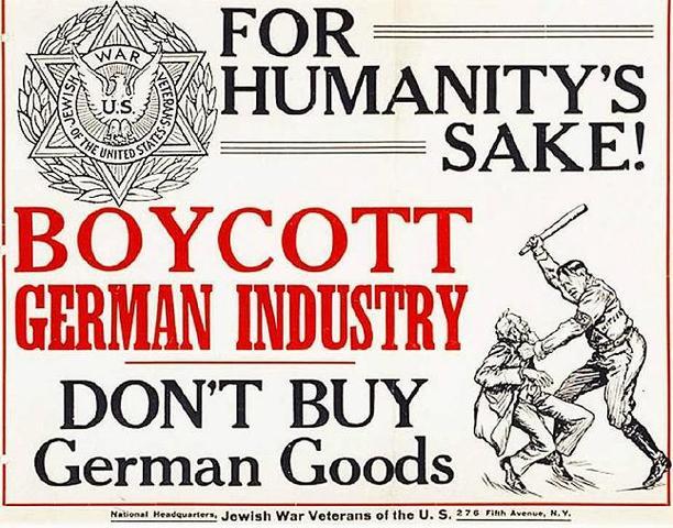 Asamblea multitudinaria contra el nazismo, organizada en Nueva York (Estados Unidos) por el Consejo Unido de Boicot.
