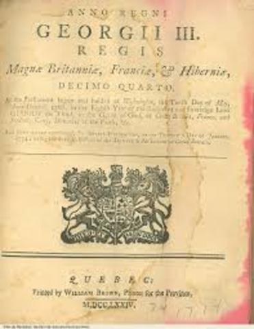 Signature of the Quebec Act
